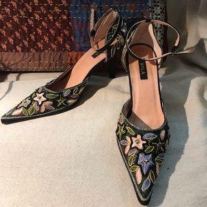 Shoes, Ankle Straps, Blk Satin, Embellished, 8